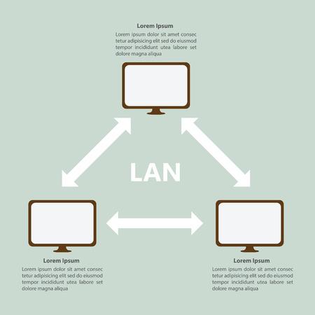 red lan: Local plantilla �rea Red LAN Infograf�a, VECTOR, EPS10