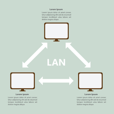 Local Area Network LAN Infographic template, VECTOR, EPS10