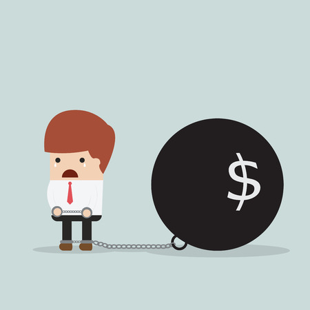 burdened: Businessman locked in a debt ball and chain, Debt concept, VECTOR, EPS10