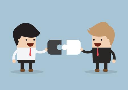 Twee zakenman verbinden puzzelstukjes