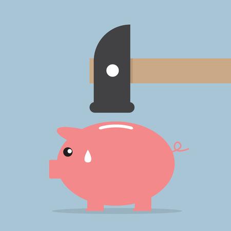 Hammer zu zertrümmern ein Sparschwein, Vektor, EPS10