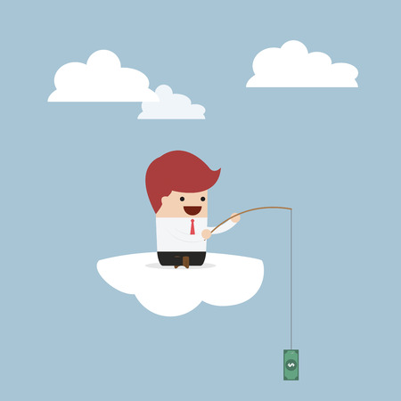 Businessman sitting on cloud with fish hook and dollar bait, VECTOR Vector