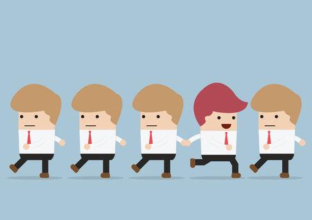 individualit�: Uomo d'affari va modo diverso della sua squadra, Individualit� concetto, vettore, EPS10