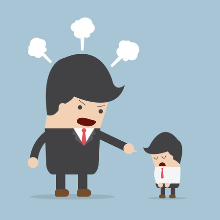 angry boss: Angry boss and employee,  Illustration