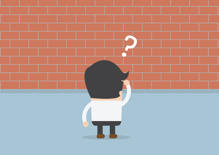 difficult journey: Businessman standing in front of a large brick wall, VECTOR, EPS10
