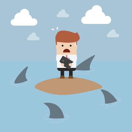 stranded: Businessman stranded in an island surrounded by sharks, VECTOR, EPS10