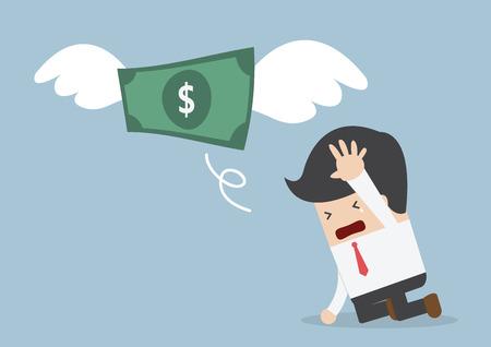 mosca caricatura: El dinero está volando lejos de tristeza empresario, VECTOR, EPS10