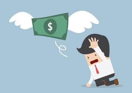 Money is flying away from sadness businessman, VECTOR, EPS10 Vettoriali