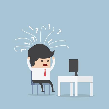 computadora caricatura: Hombre de negocios confuso delante del ordenador, vector, EPS10