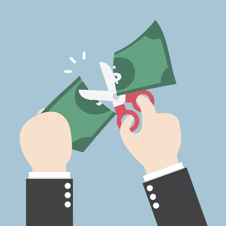 Zakenman Handen die schaar en snijden dollar, vector, EPS10 Stock Illustratie
