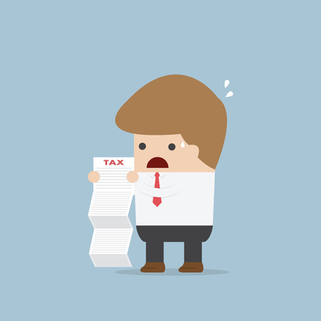 shocked: Businessman shocked when he reading the documents, VECTOR, EPS10 Illustration