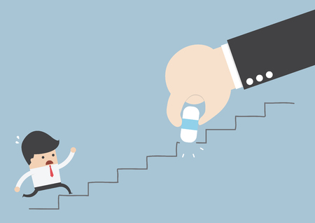 deleting: Business rival concept, Businessman hand holding eraser deleting the stair, VECTOR, EPS10 Illustration