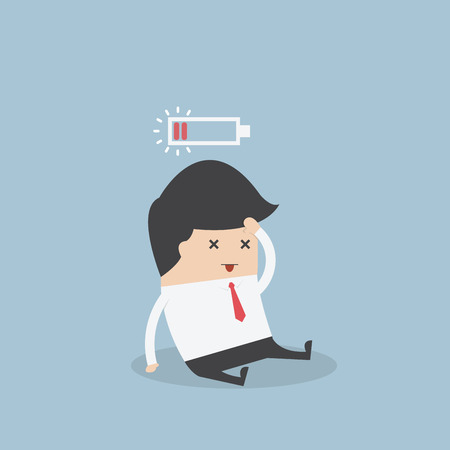 Businessman with low battery, VECTOR, EPS10