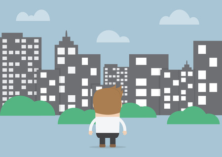 urban street: Businessman looking to silhouette city, VECTOR, EPS10 Illustration