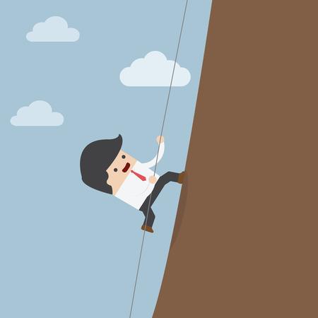 uphill: Businessman climbing on the rocks, VECTOR, EPS10