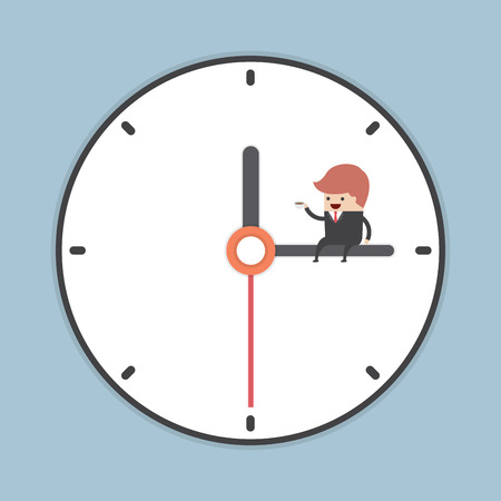 eating lunch: Businessman sitting on minute hand of clock with a cup of coffee, VECTOR, EPS10