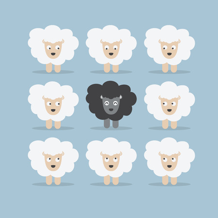 flock of sheep: Black sheep in the crowd, VECTOR, EPS10