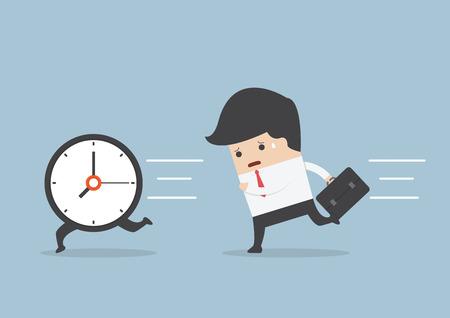 Business man run follow the clock, VECTOR, EPS10 Stock Illustratie