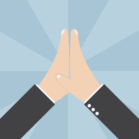high five: Two Businessmen hands giving a high five, VECTOR, EPS10