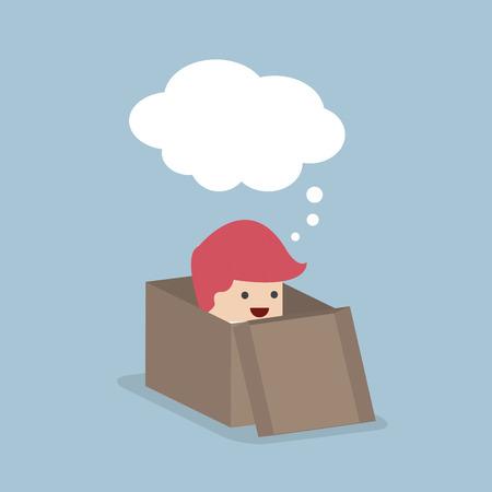 Empresario pensar fuera de la caja, vector, EPS10 Ilustración de vector
