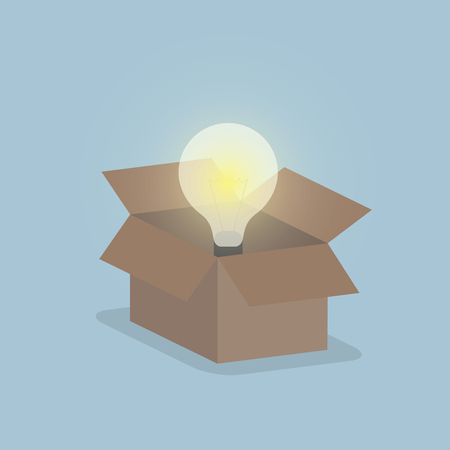 think out of box: Glowing light bulb float over opened box, Thinking outside the box concept, VECTOR, EPS10 Illustration