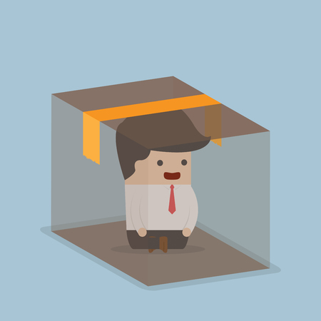 confined: Businessman sitting inside the box, VECTOR, EPS10