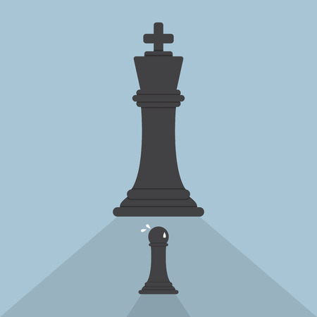 Pawn chess afraid of king chess, VECTOR, EPS10 Vector