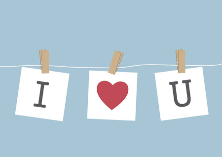 i love you sign: I Love You hanging on wire, VECTOR, EPS10 Illustration