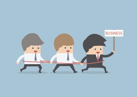 team working together: Group of businessman walking towards together, VECTOR, EPS10 Illustration
