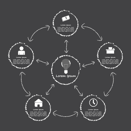 Elements of success, Infographic black and white style template, VECTOR, EPS10