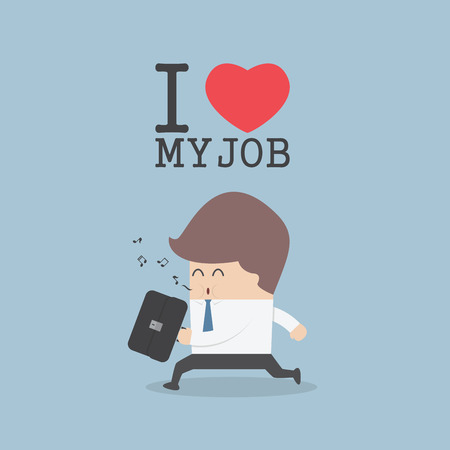 heart work: Businessman whistling and happily while going to work. I Love My Job concept, VECTOR, EPS10 Illustration