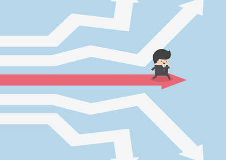 Businessman walking on the road of success, VECTOR, EPS10