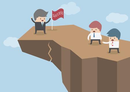 hombre cayendo: Empresario de pie en la parte superior del acantilado peligroso, Riesgos de negocio concepto, vector, EPS10
