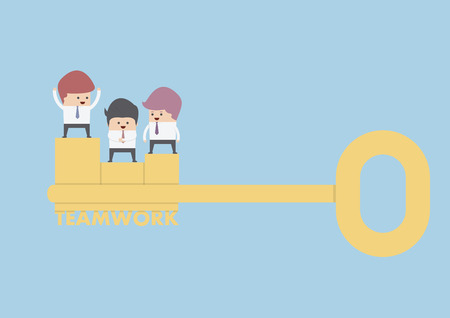 key to success: Businessman stand on the golden key, Teamwork Concept, VECTOR, EPS10