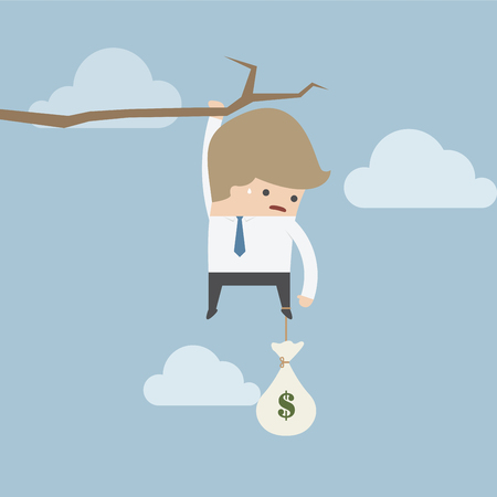 financial cliff: Businessman with money bag hanging on a branch, VECTOR, EPS10