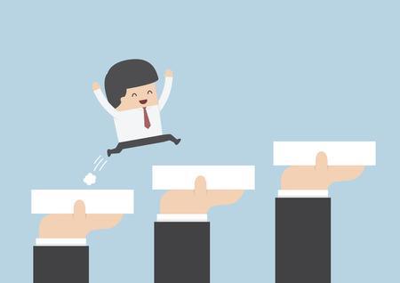 superacion personal: Manos que sostienen los bloques para ayudar a negocios para ir hacia el �xito, la carrera y el crecimiento concepto, vector, EPS10