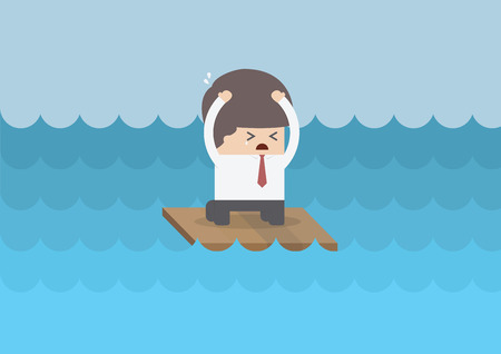 raft: Businessman on a raft in the middle of the sea, VECTOR, EPS10