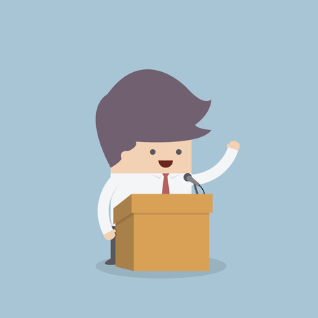 Businessman standing on podium and giving a speech, VECTOR, EPS10 Vector