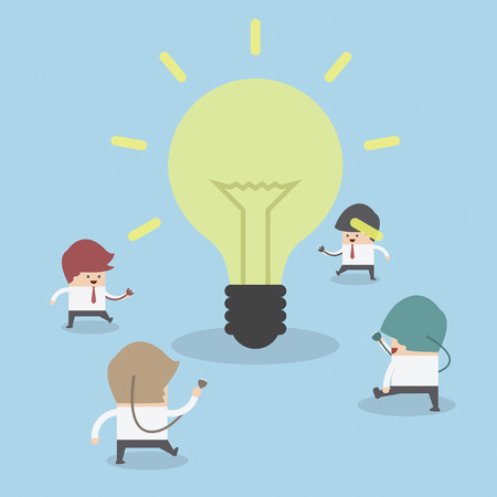 contemplate: Businessman walking to light bulb to get idea, Idea concept, VECTOR, EPS10 Illustration