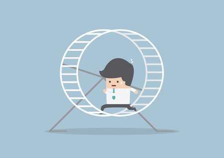 stressed businessman: Businessman running in a hamster wheel, VECTOR, EPS10 Illustration