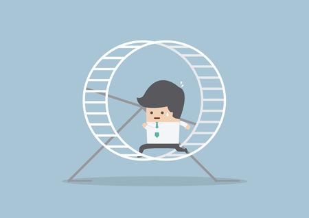 Businessman running in a hamster wheel, VECTOR, EPS10 Stock Illustratie