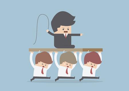 悪い上司が、従業員がリーダー、ベクトル、EPS10 を運んでいます。  イラスト・ベクター素材