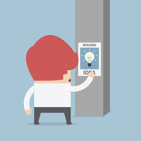 declare: Businessman standing in front of missing idea poster, VECTOR, EPS10