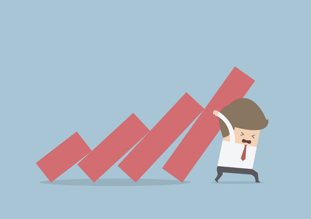 Businessman trying to stop falling graph, VECTOR, EPS10 向量圖像