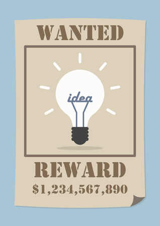 wanted poster: Wanted poster with light bulb idea, VECTOR, EPS10 Illustration