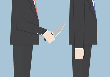 stabbed: El hombre de negocios apu�alar a su amigo en la espalda, VECTOR, EPS10 Vectores