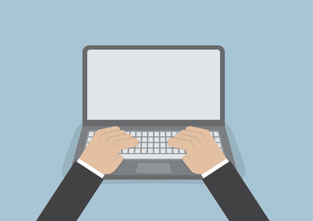 Businessman hand on laptop keyboard with blank screen monitor, VECTOR, EPS10