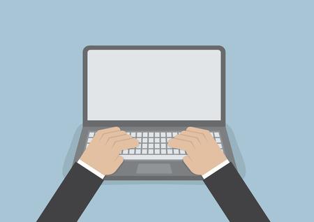 computadora caricatura: Mano de empresario en el teclado portátil con monitor de pantalla en blanco, vector, EPS10