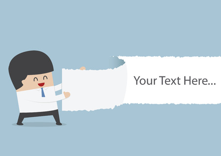 Businessman ripped the paper with text on blank position, VECTOR, EPS10