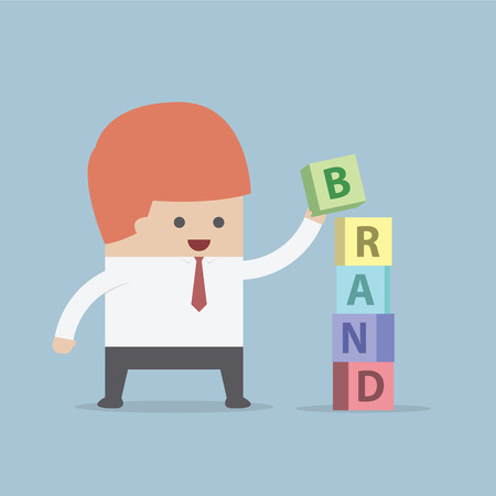 brand identity: Businessman is building BRAND word, Brand building concept, VECTOR, EPS10